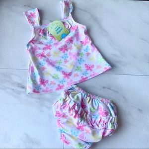 Green sprouts infant swim diaper suit floral 6 mo